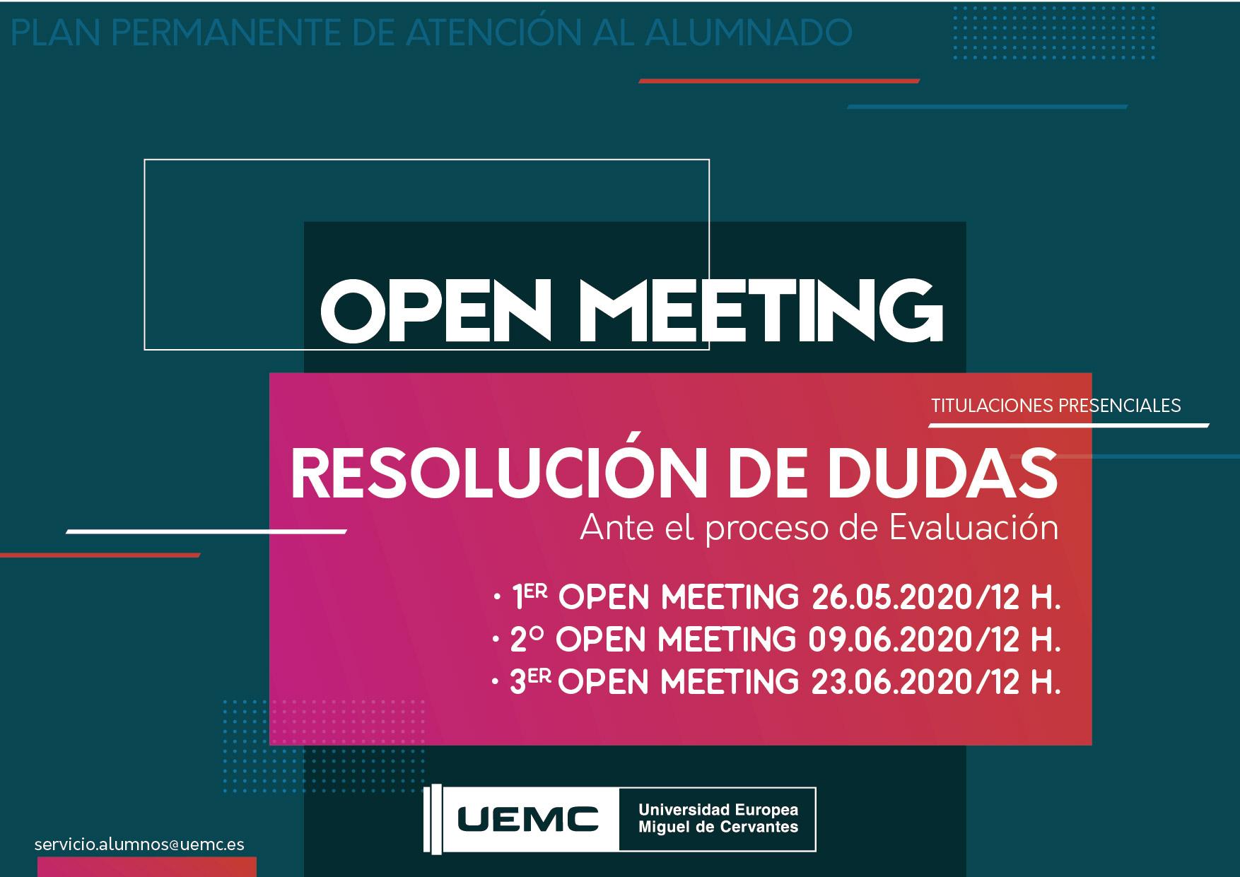Titulaciones presenciales – Open Meeting de resolución de dudas – Consulta fechas