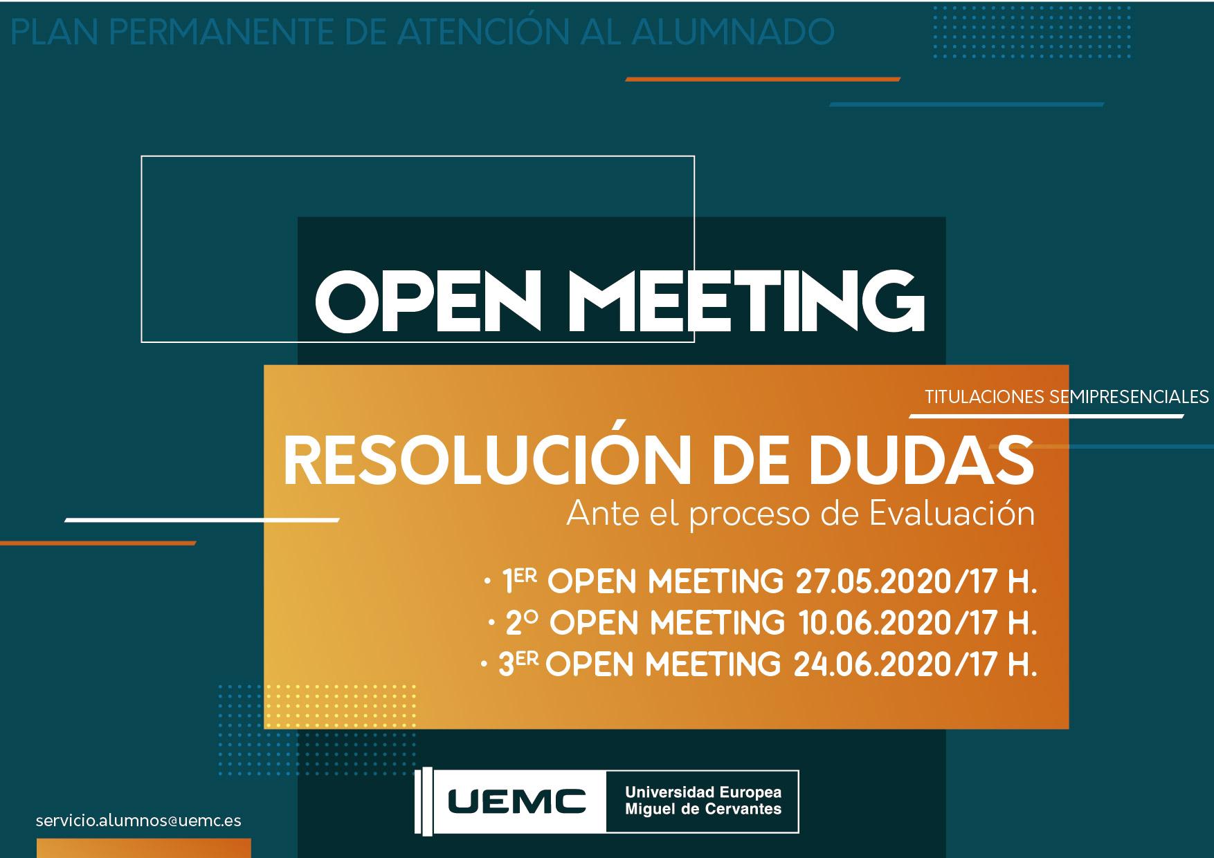 Titulaciones semipresenciales – Open Meeting de resolución de dudas – Consulta fechas
