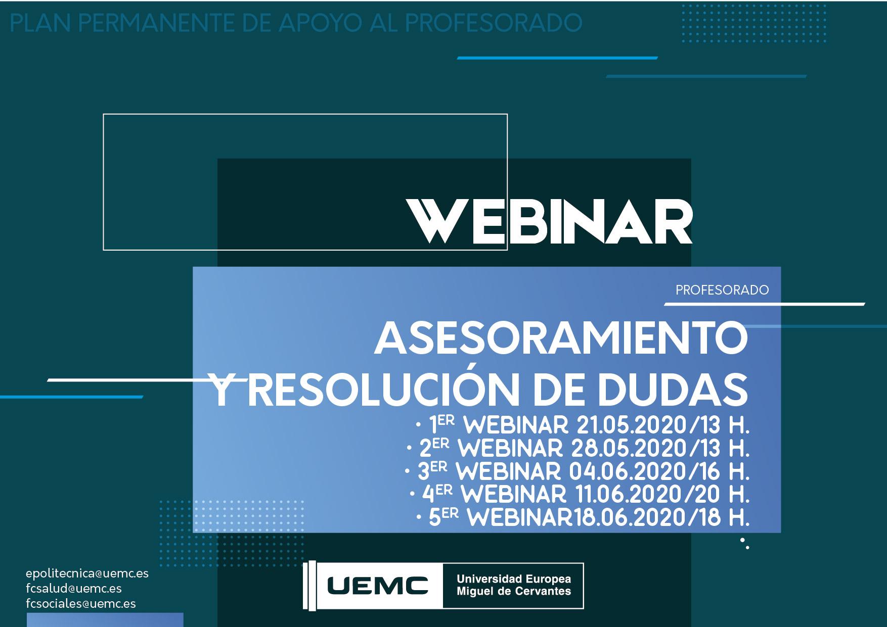 Webinar  - Reuniones virtuales de asesoramiento y resolución de dudas – Consulta fechas